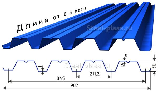 профилированный лист, профнастил Н60